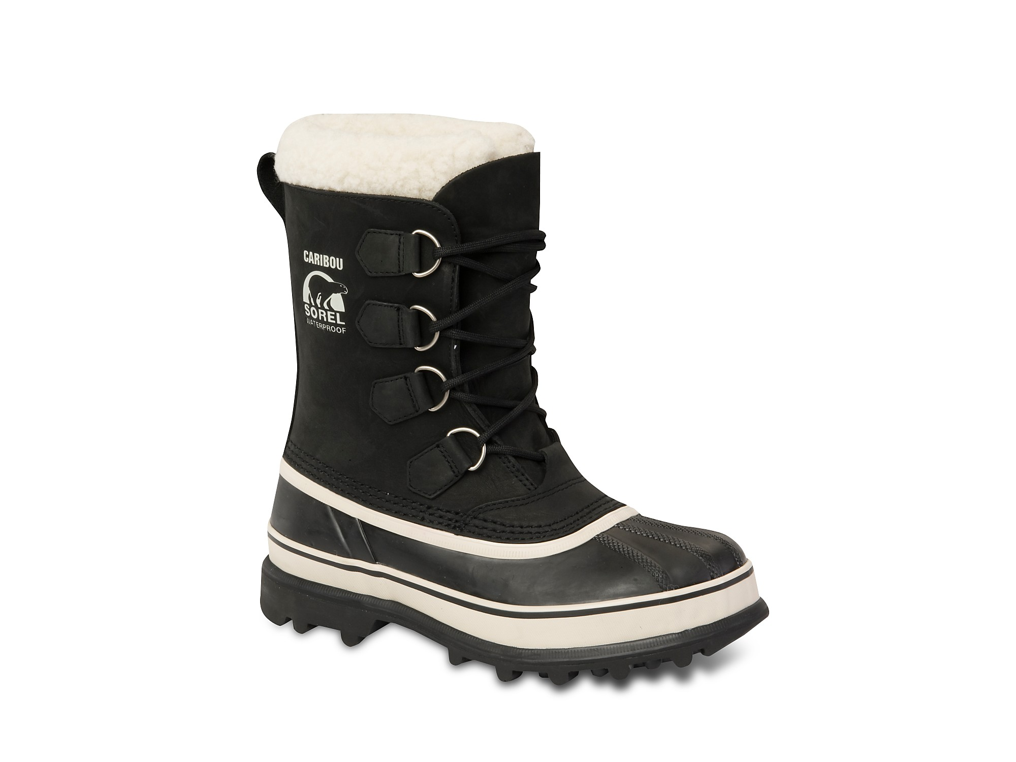 Sorel Womens Caribou Snow Boots In Black Black Stone Lyst