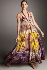 Jean Paul Gaultier Tiered Palm-print Maxi Dress - Lyst