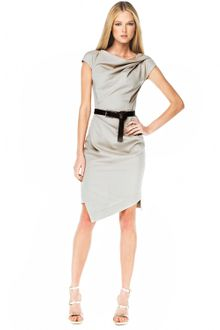 Michael Kors Belted Drape Dress, Taupe - Lyst