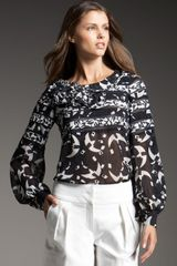 Oscar de la Renta Abstract-print Chiffon Blouse - Lyst