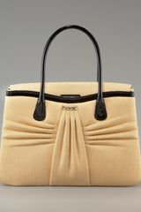 Valentino Straw & Patent Leather Tote - Lyst