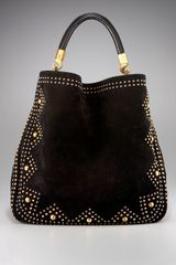 Yves Saint Laurent Studded Suede Hobo - Lyst