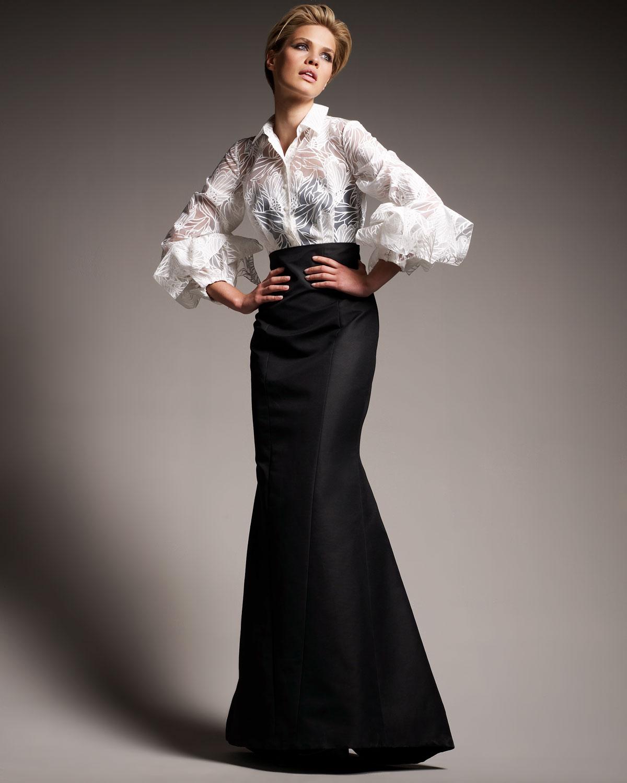 Carolina Herrera Origami-sleeve Shirted Gown in White - Lyst