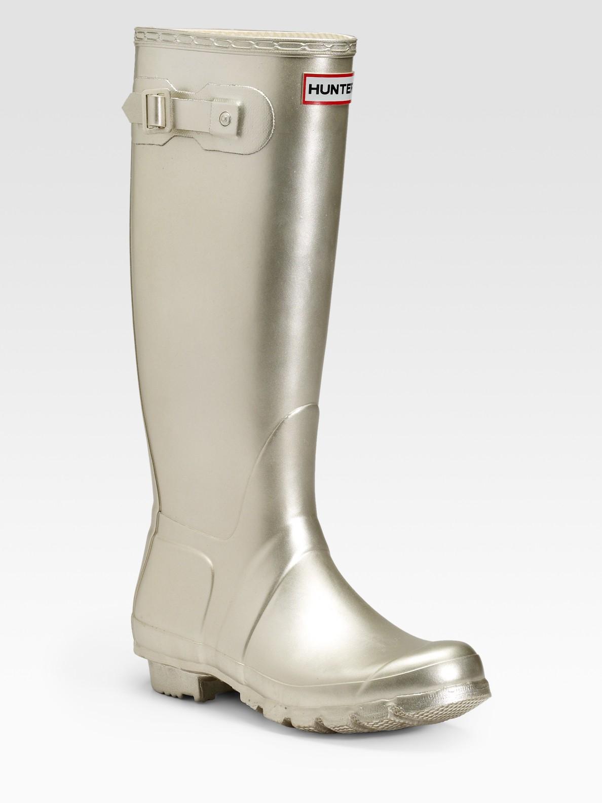 Hunter Original Metallic Rubber Rain Boots In Metallic Lyst