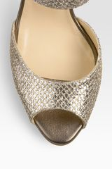 Jimmy Choo Lace Glitter Mary Jane Pumps in Gold (champagne glitter fabric) - Lyst