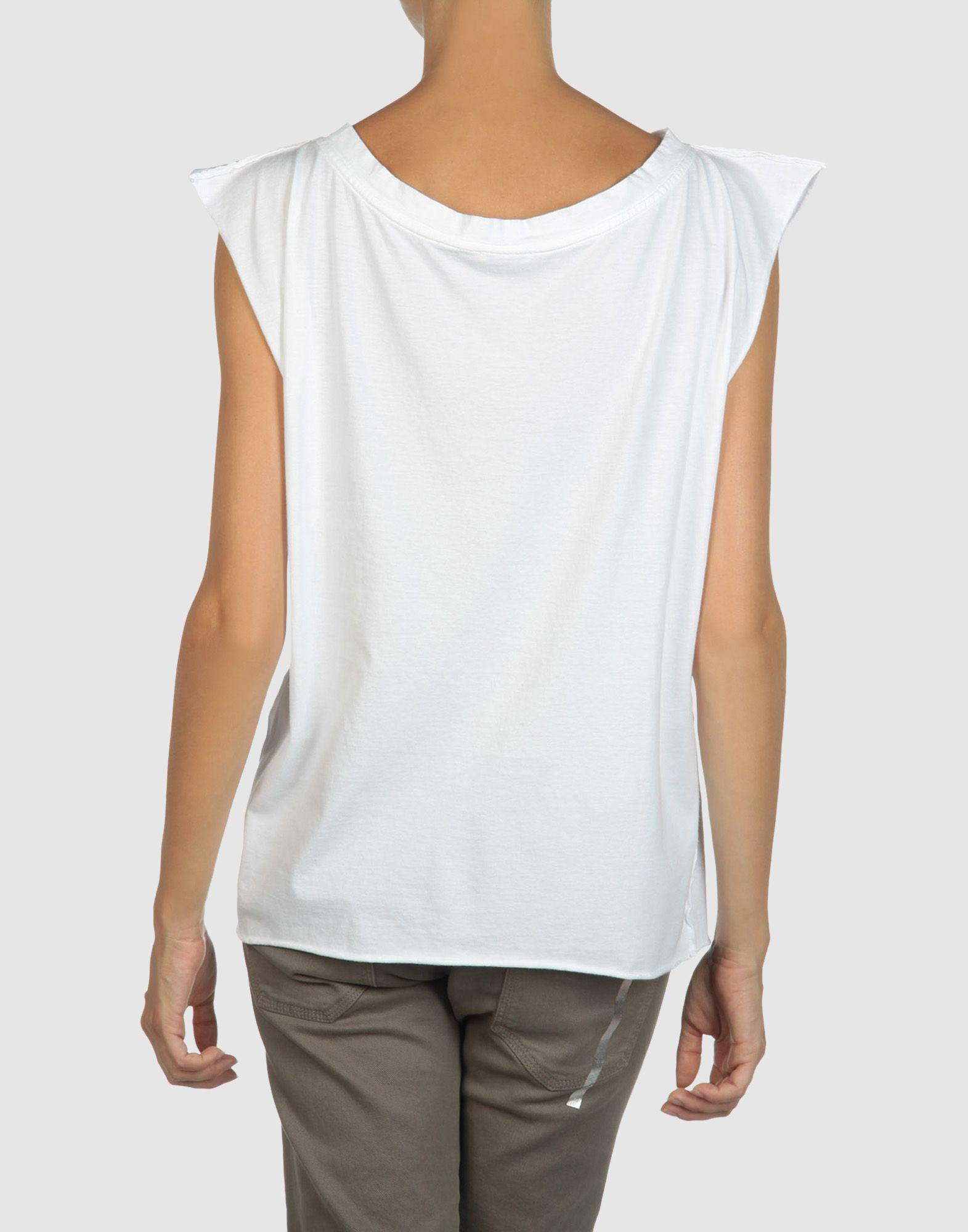 Miu miu sleeveless t shirt in white lyst for Miu miu t shirt