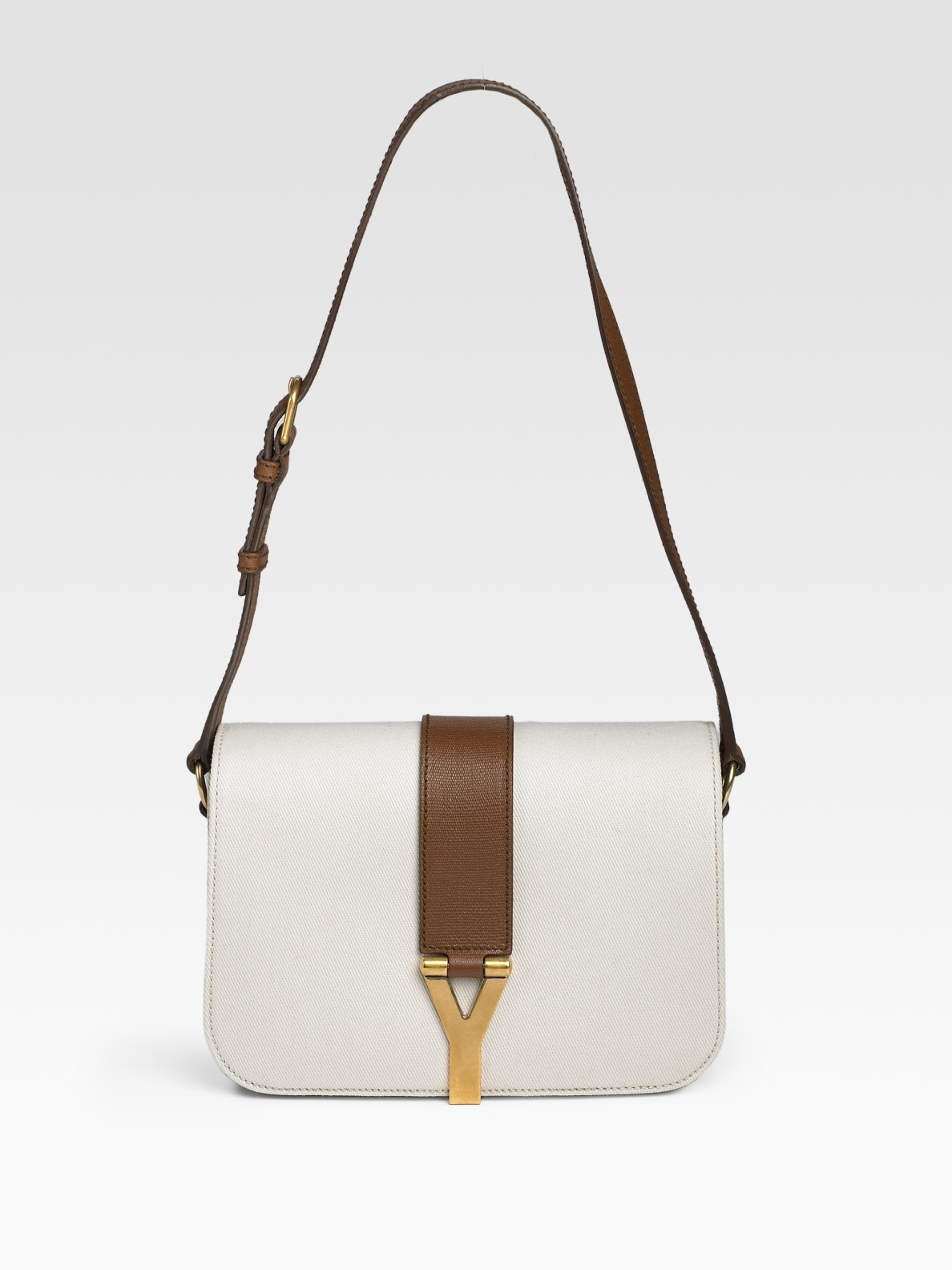 Saint laurent Chyc Canvas and Leather Flap Bag in White   Lyst
