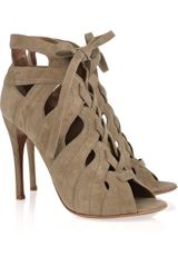 Alaïa Cutout Suede Lace-up Sandals - Lyst