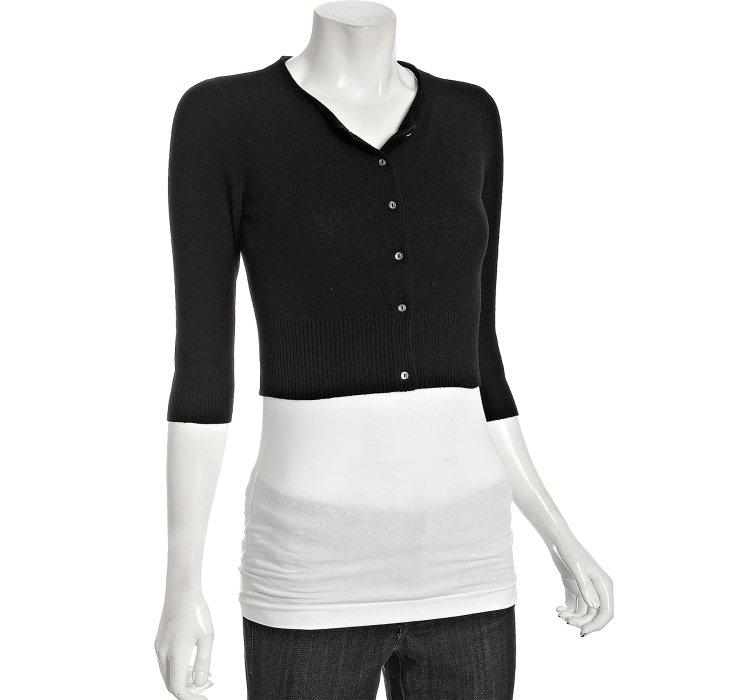 Autumn cashmere Black Cashmere Cropped Cardigan in Black | Lyst