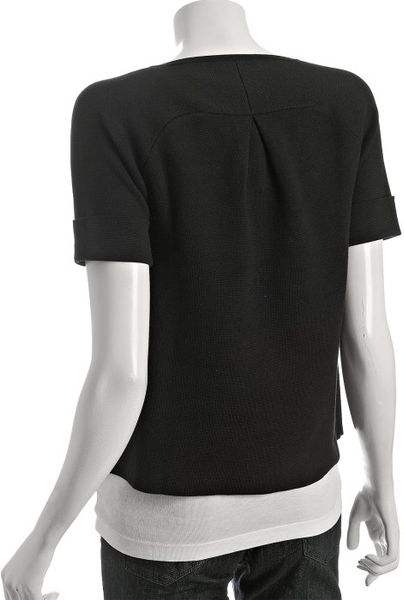 Autumn Cashmere Black Cotton Pocket Short Sleeve Sweater
