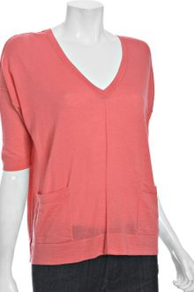 Autumn Cashmere Coral Cashmere Button Back V-neck Sweater - Lyst