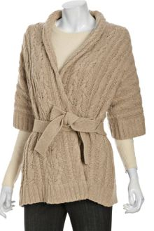 BCBGMAXAZRIA Heather Camel Cotton-wool Cable Knit Cardigan - Lyst