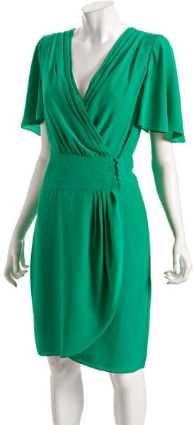 Bcbgmaxazria Emerald Green Silk Wrap Dress In Green
