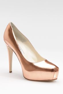Brian Atwood Maniac Metallic Leather Platform Pumps - Lyst