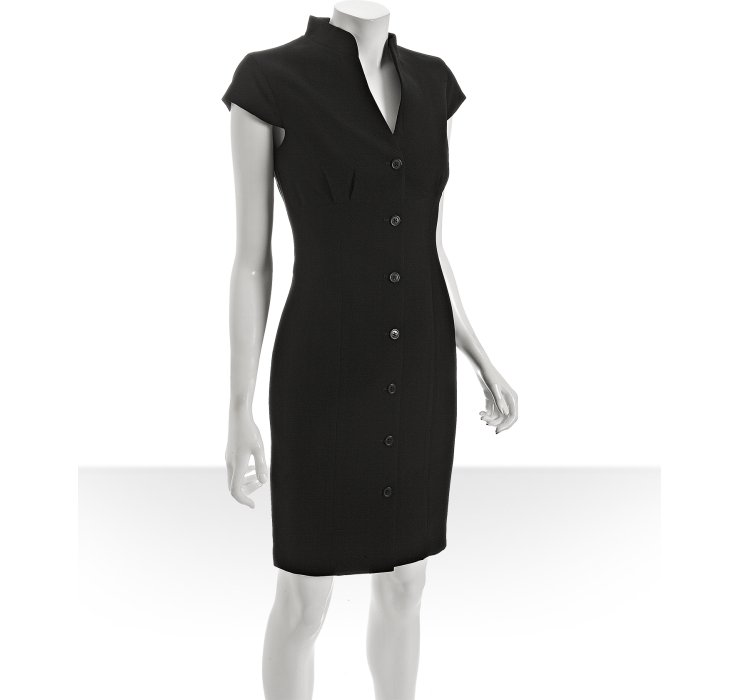 calvin klein black woven button front belted dress in