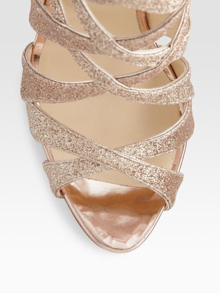 Christian Louboutin Balota Glitter Leather Strappy Sandals