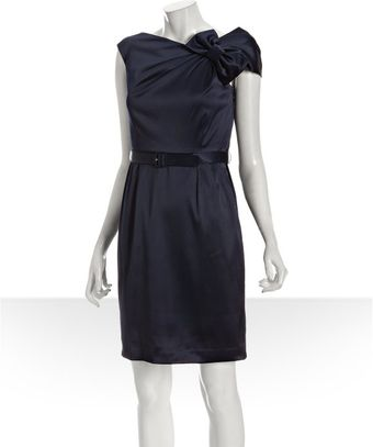 Eliza J Navy Sateen Bow Shoulder Belted Dress - Lyst