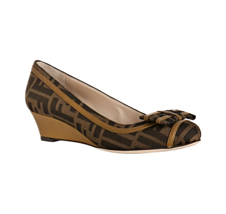 fendi olive leather trimmed zucca canvas wedges in green