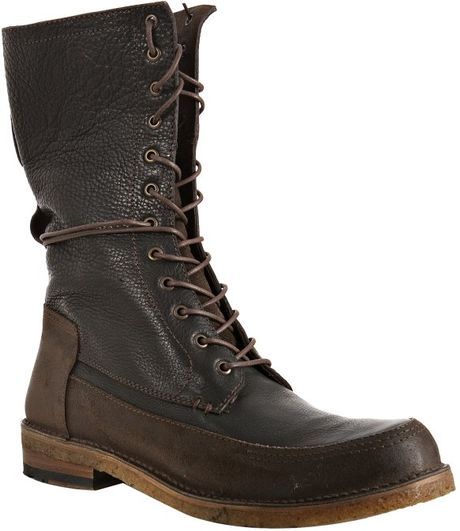frye black pebbled leather owen combat boots in black for