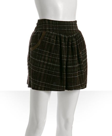 geren ford brown plaid wool blend pleated mini skirt in