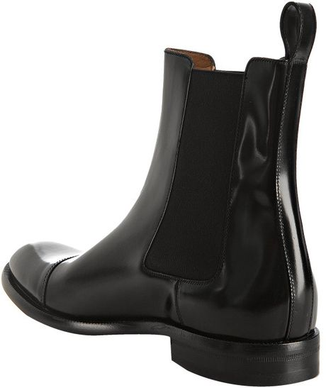 gucci black leather captoe chelsea boots in black for men