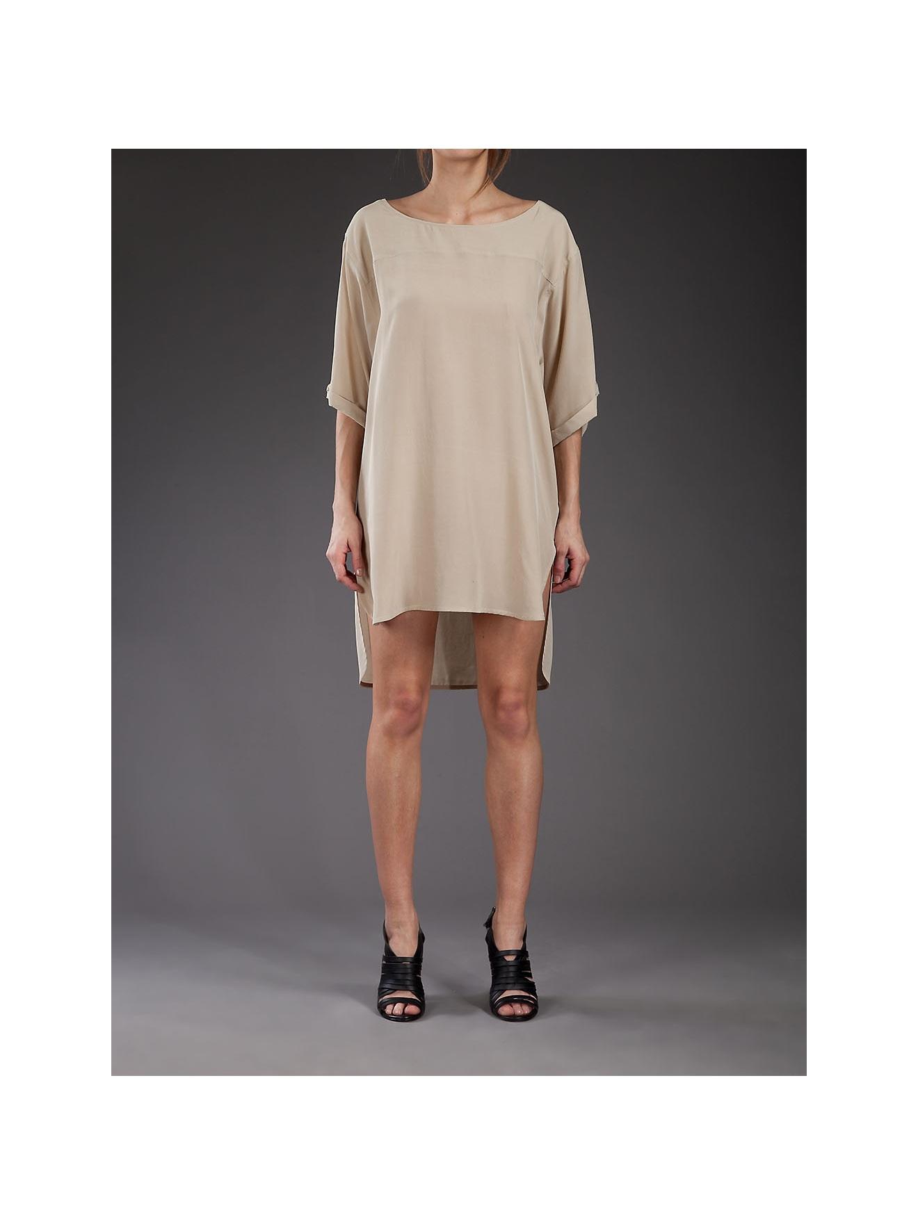 e3192b26aea0 Jo No Fui Oversized Silk T-shirt Dress in Natural - Lyst