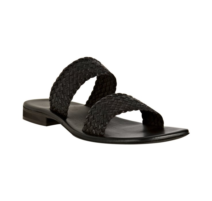 Kenneth Cole Brown Braided Leather Quad Band Slide Sandals