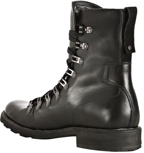 kenneth cole reaction black leather hunt boots in