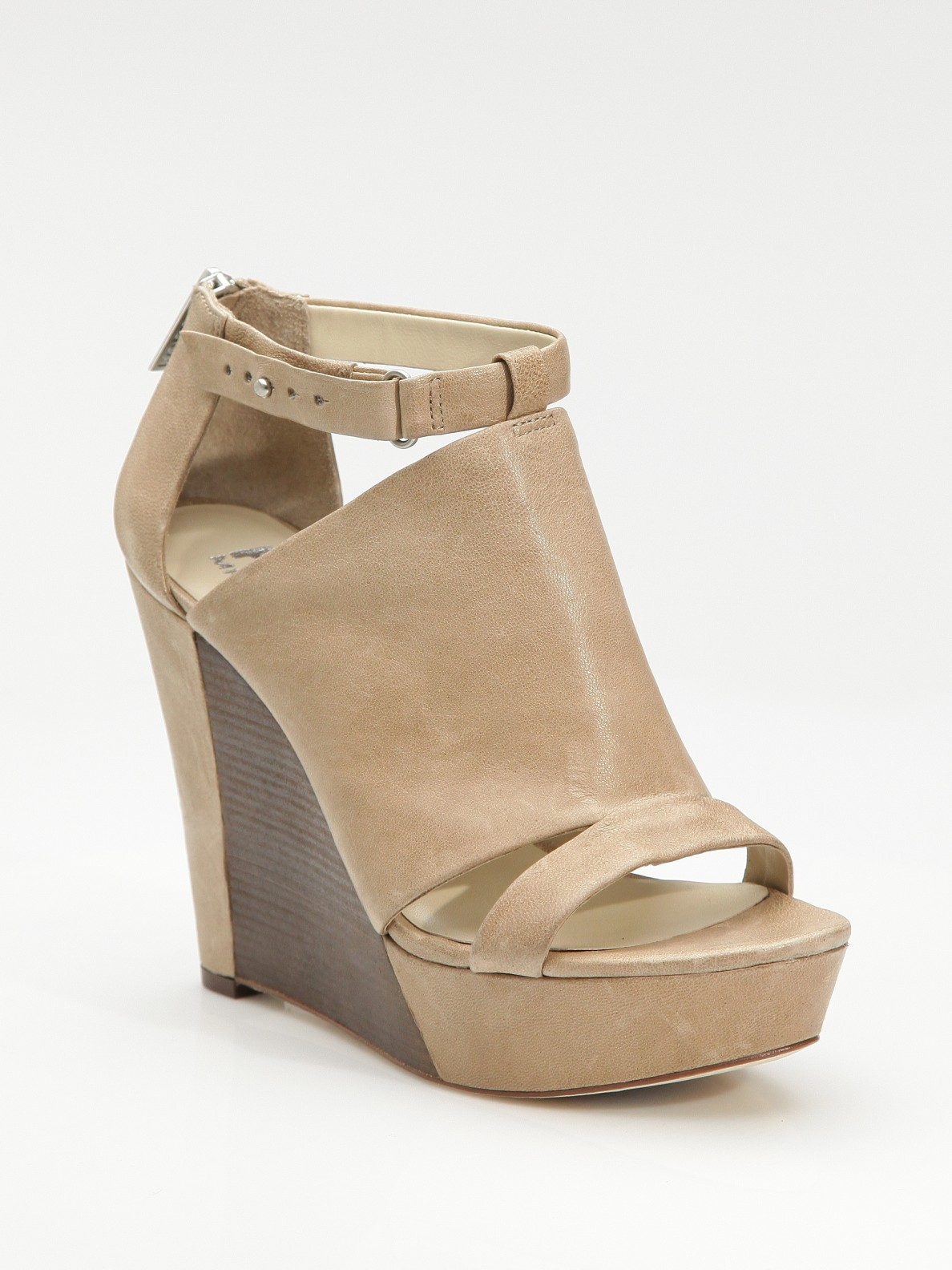 kors by michael kors lara half wood wedge sandals in brown