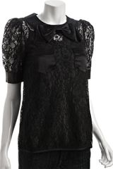 Marc By Marc Jacobs Black Lace Bow Detail Short Sleeve Blouse in Black - Lyst