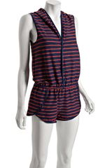 Marc By Marc Jacobs Navy Disco Stripe Hooded Coverup Romper in Blue (navy) - Lyst