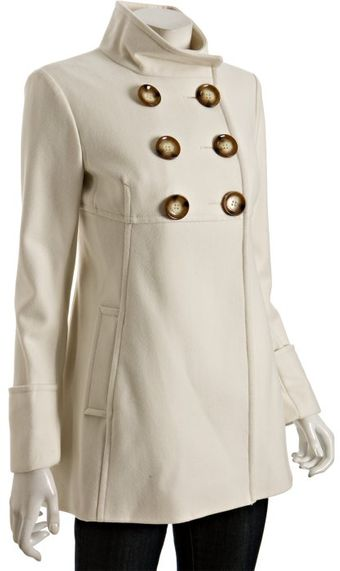 Michael by Michael Kors Ivory Wool Blend Double-breasted Babydoll Coat - Lyst