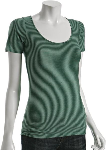 Monrow Seafoam Thin Striped Scoopneck T Shirt In Green