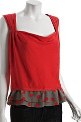 Moschino Cheap & Chic Red Jersey Sleeveless Polka Dot Blouse - Lyst