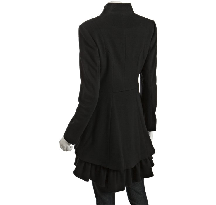 Nicole miller Black Wool Ruffle Bottom Coat in Black | Lyst