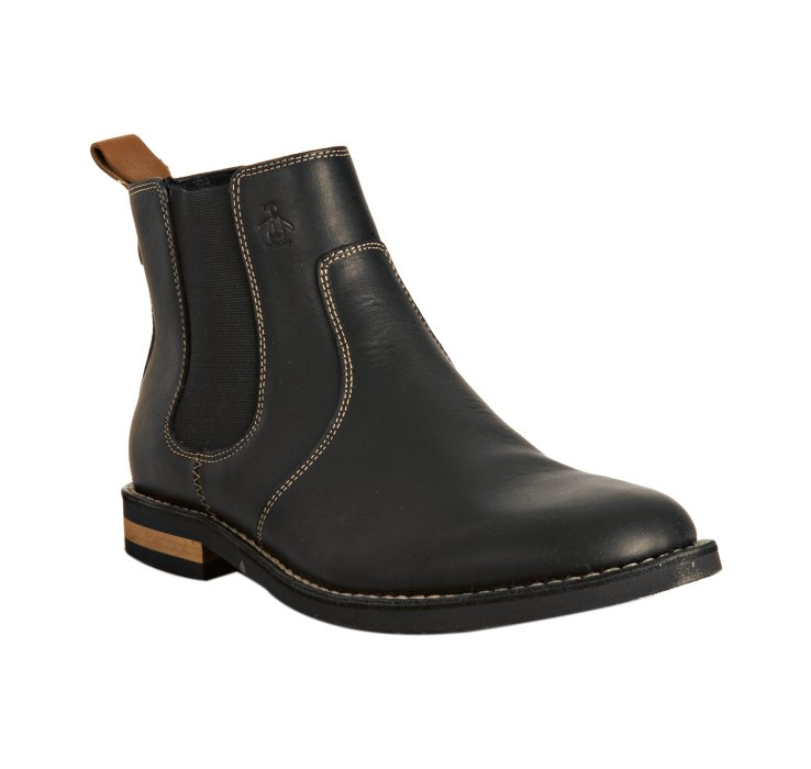 original penguin black leather kris ankle boots in black