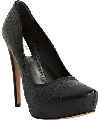Prada Black Croc Embossed Platform Pumps - Lyst