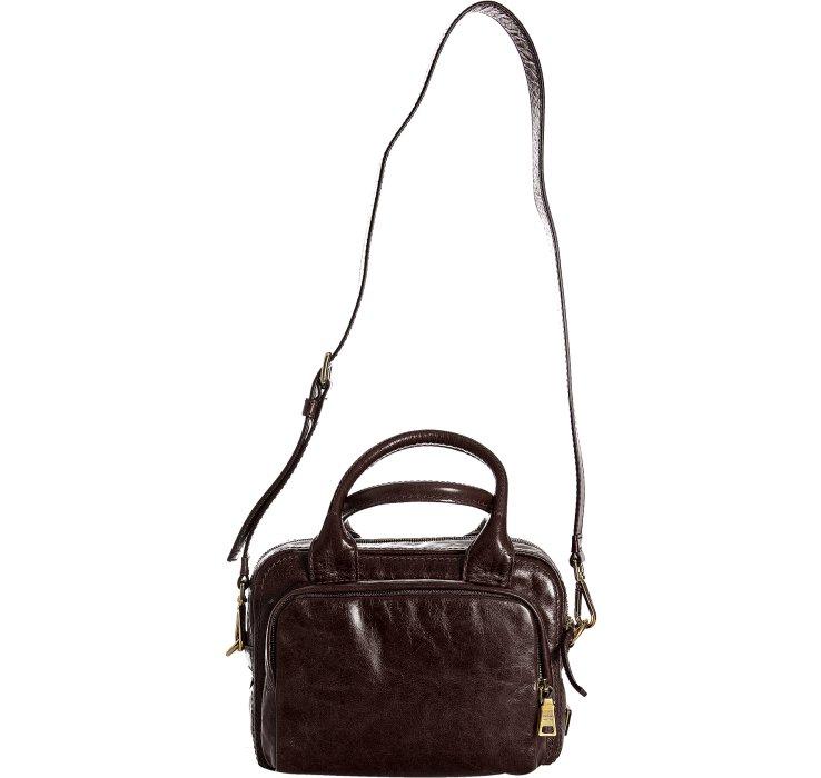 prada handbag tote - Prada Brown Vitello Shine Leather Bauletto Small Zip Satchel in ...
