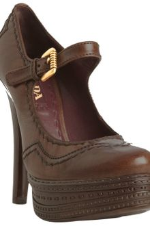 Prada Cocoa Leather Stitch Trim Platform Pumps - Lyst