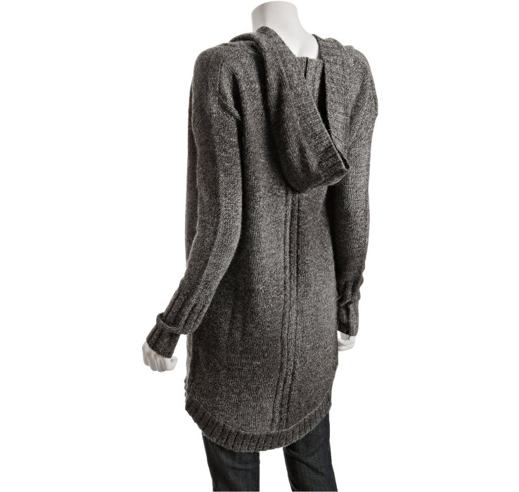 Qi Coal Wool Knit Isis Hooded Cardigan Sweater in Black | Lyst