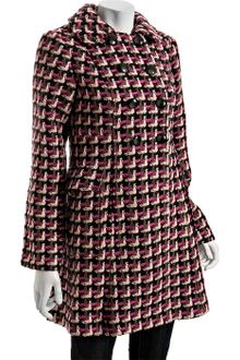 Tibi Pink Plaid Wool Knit Double-breasted Coat - Lyst