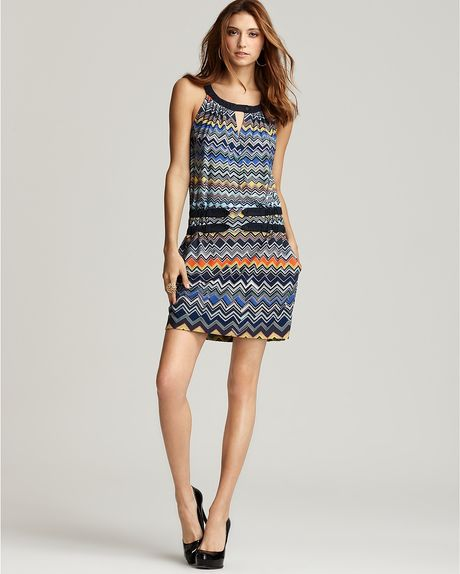 Bcbgmaxazria Flamestitch Print Cutaway Jersey Dress in Blue (Chambray Multi) - Lyst