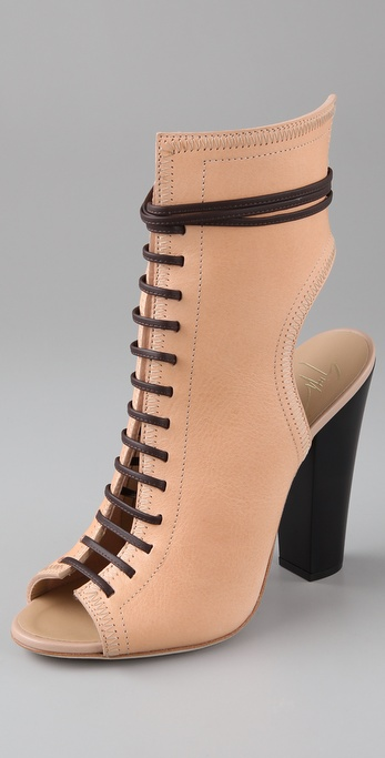 Giuseppe Zanotti Lace Up Boots With Open Toe |