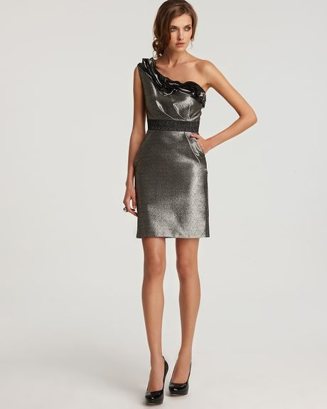 Cleo S Clothing: Max & Cleo River Metallic One-shoulder Dress In Silver