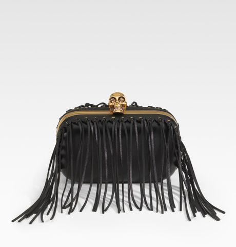 Alexander Mcqueen Fringe Skull Leather Box Clutch in Black - Lyst