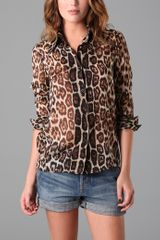 Alice + Olivia Brazil 70s Collar Button Down In Leopard Print in Animal (leopard) - Lyst