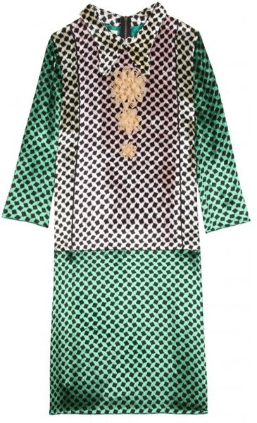 Marni Velvet Printed Dress in Green (multicolored)