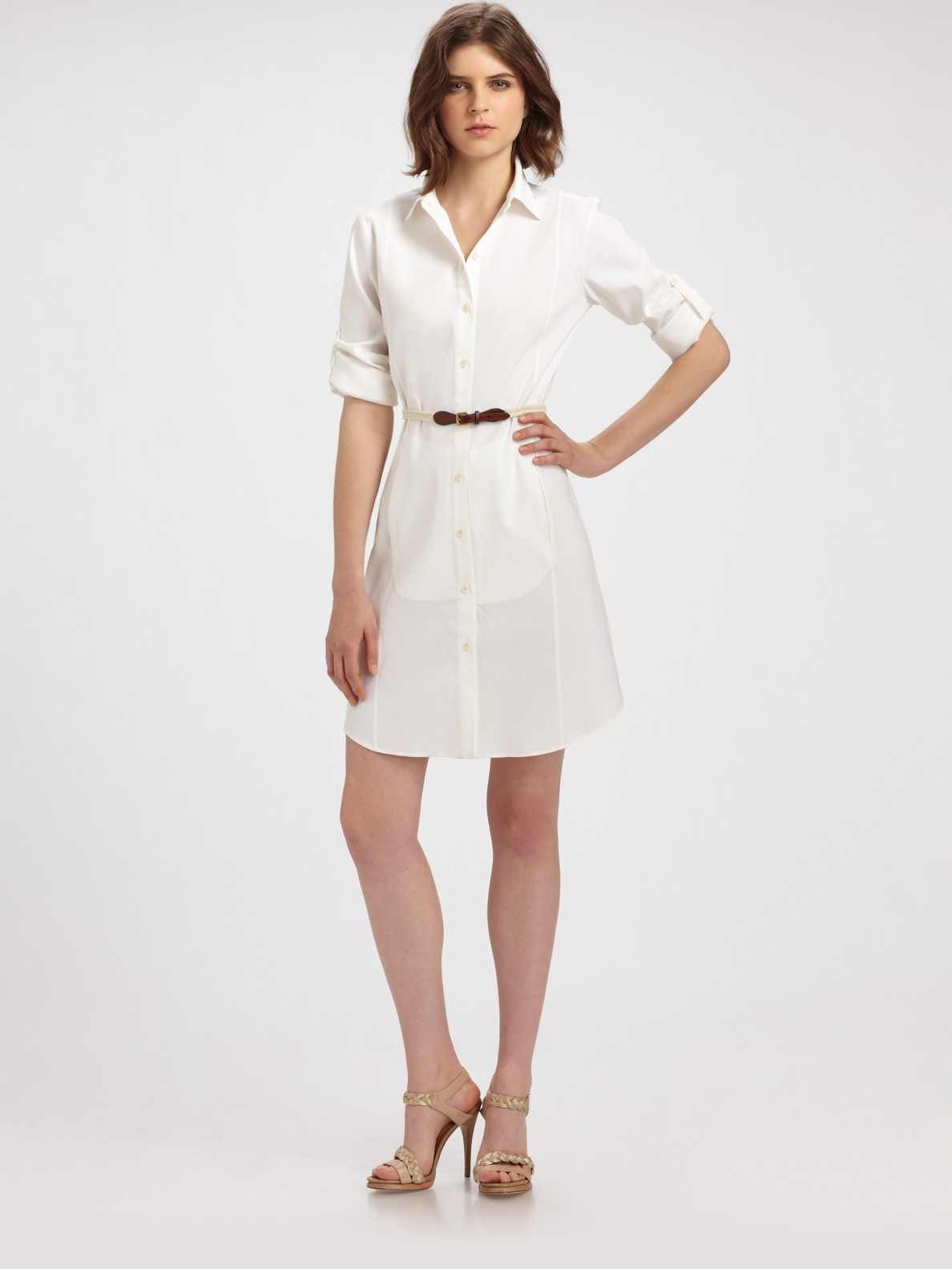 421901bb7d4d Lyst - Theory Lannie Button-down Shirt Dress in White