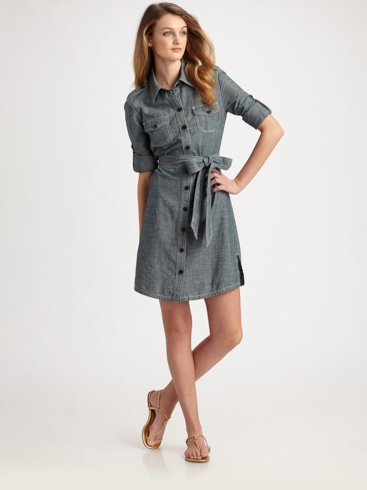 Tory Burch Brigitte Chambray Shirt Dress In Gray Lyst