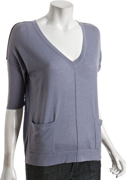 Autumn Cashmere Storm Cashmere Button Back Vneck Sweater in Blue - Lyst